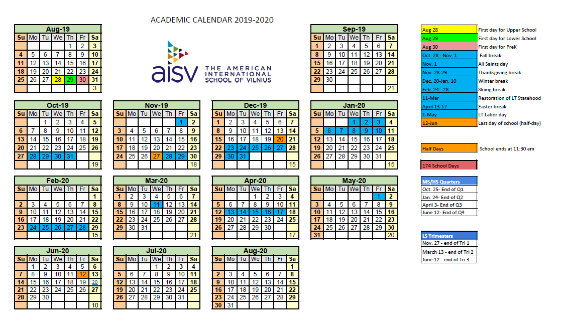 Fall Academic Calendar 2020.School Calendar 2019 2020 School Calendar 2019 2020
